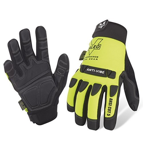 Valeo Industrial V400 Mechanics ANSI Cut 5 Impact Anti-Vibe Gloves, VI9567, Pair, Yellow, XL