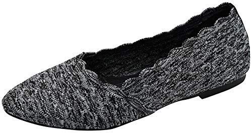 Skechers Women's Cleo-Scalloped Knit Skimmer Ballet Flat, Black/Charcoal, 10 M US