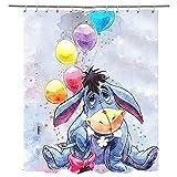 Duschvorhang Esel & Ballon Duschvorhänge Anti-Schimmel, Wasserdicht, Textil-Vorhang Waschbar Badvorhang Polyester Stoff mit 12 Duschvorhangringen 79x79 inches