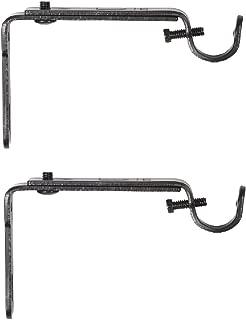 Umbra, Black Adjustable Bracket for Drapery Rod, Set of 2, Single
