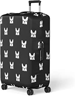 Pinbeam Luggage Cover Puppy French Bulldog Pattern Frenchie Animal Outline Face Travel Suitcase Cover Protector Baggage Case Fits 26-28 inches