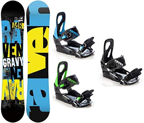 Raven Snowboard Set: Snowboard Gravy 2020 + Bindung s200 (155cm Wide + s200 Blue M/L)