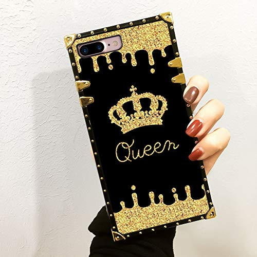 iPhone 7 Plus, iPhone 8 Plus Case Queen Golden Crown Luxury Square Soft TPU Wrapped Edges and Hard PC Back Stylish Classic Retro Case