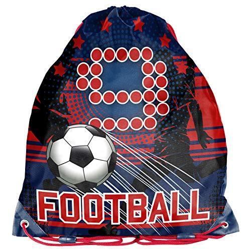 Kinder Turnbeutel/SPORTBEUTEL 36x32 cm - Fussball/Football - BLAU/ROT