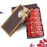 ZEHNHASE 18 Stücke Rosen-Duftseifen in Geschenk-Box Floral Duftende Badseife Rose Valentinstag...