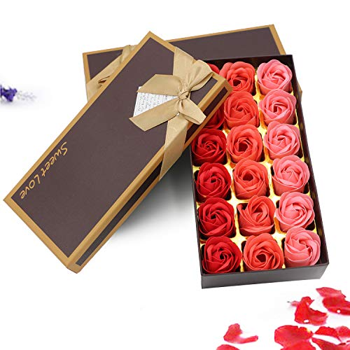ZEHNHASE 18 Stücke Rosen-Duftseifen in Geschenk-Box Floral Duftende Badseife Rose Valentinstag Muttertag Frauentag Hochzeit Geburtstag Memorial Day (Rot)