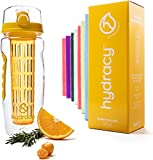 Hydracy Fruit Infuser Water Bottle - 32 oz Sports Bottle - Time Marker & Full Length Infusion Rod + 27 Fruit Infused Water Recipes eBook Gift - Sunny Yellow