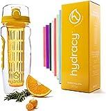 Hydracy Bottiglia con infusore per Acqua aromatizzata alla Frutta con Linee Marca Tempo e Cestino per infusione Lungo -1Litro - Senza BPA - Perfetta per depurare l'organismo, per Gli Sport - Giallo