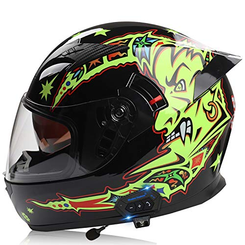 Motorcycle Full Face Helmet Bluetooth Helme Integrated Helmets DOT/ECE Certification Motorbike Modular Helmets for Men and Women with Double Visors Anti-UV Four Seasons L,XL=61~62cm