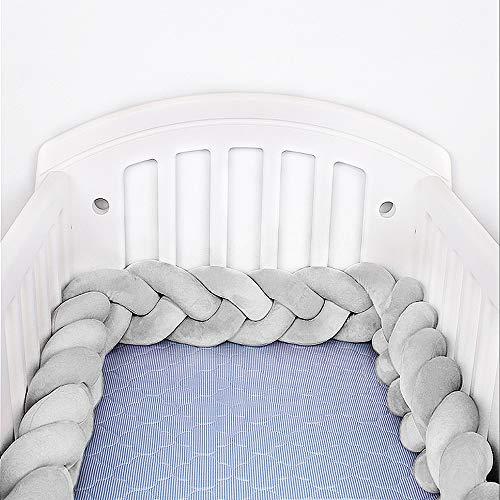 Hbsite Baby Krippe Stoßfänger geknotet geflochten Bettumrandung Babybett Länge 118 inch 300cm Baby Nestchen Bettumrandung Weben Geflochtene Stoßfänger Dekoration für Krippe Kinderbett (grau)