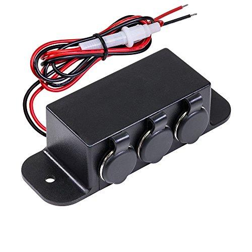 ONLINE LED STORE Automotive DC Power Outlet Extension [Heavy Duty] [12V-24V] [15 Amp] [In-Line Fuse] [Hardwire] Car Triple Socket Cigarette Lighter Plug Switch Box