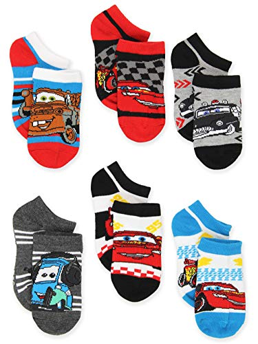 Disney Cars Toddler Boys 6 pack No Show Socks (Small, Multicolor)