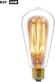 qwrew Retro Edison Light Bulb, 40W High Bright Warm White Lamp Incandescent Clear Teardrop Squirrel Cage Style ST64 110V-220V E27 Base for Home Decoration Pack of 4