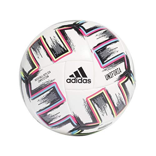 Adidas UNIFO Com, Pallone da Calcio Uomo, White/Black/Signal Green/Bright Cyan, 5