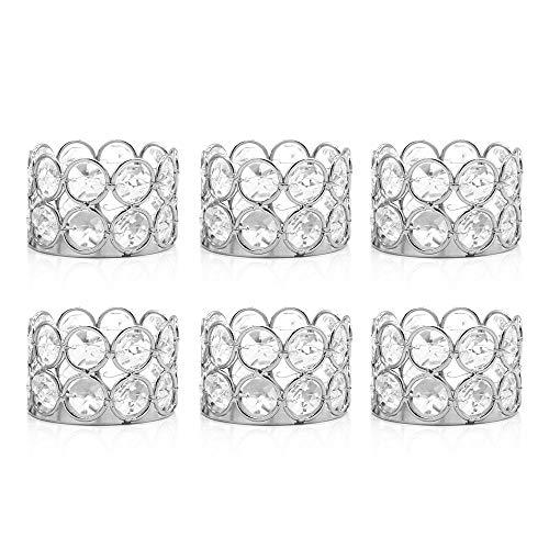 VINCIGANT Teelichthalter aus silberfarbenem Kristall, 6 Stück für Hochzeit, Muttertag, Dekoration, Tischdekoration, Geschenke