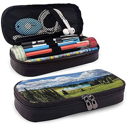 Bleistiftbeutel, federmäppchen tasche, federmäppchen, große kapazität glatte reißverschlüsse landschaft teich mit immergrünen bäumen 20 cm * 9 cm * 4 cm