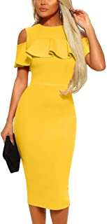 Women's Sexy Cold Shoulder Ruffle Bodycon Evening Party Club Midi Dress