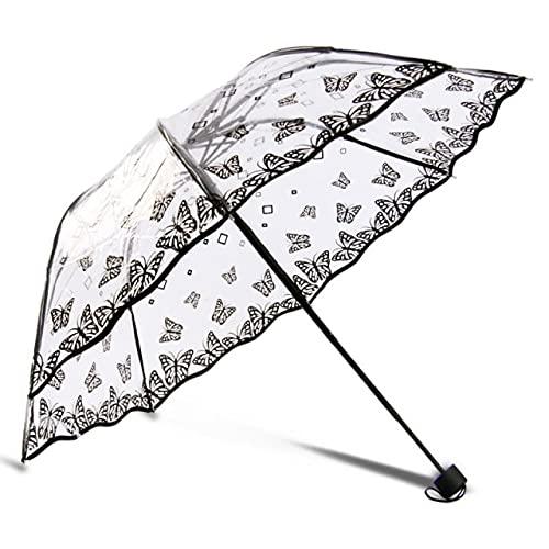 Paraguas plegable gótico transparente para mujer, cortavientos a la moda, para niñas, para viajes al aire libre, paraguas claro para lluvia, negro, sombrilla de negocios
