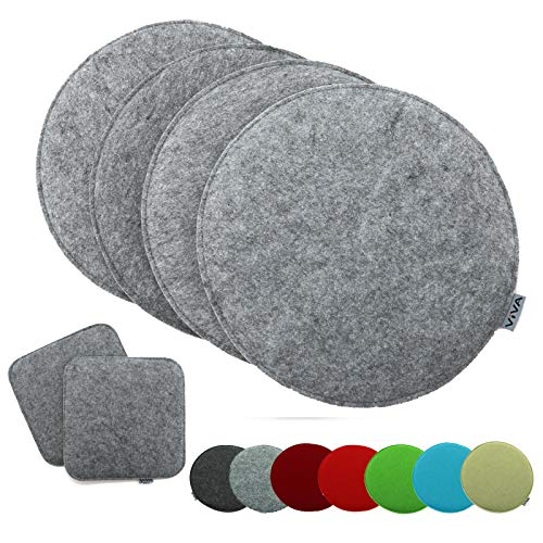 heimtexland ® 4er Pack Sitzkissen Filz Rund 35 cm Grau Filzkissen Stuhlkissen Polster Auflage Kissen Typ631