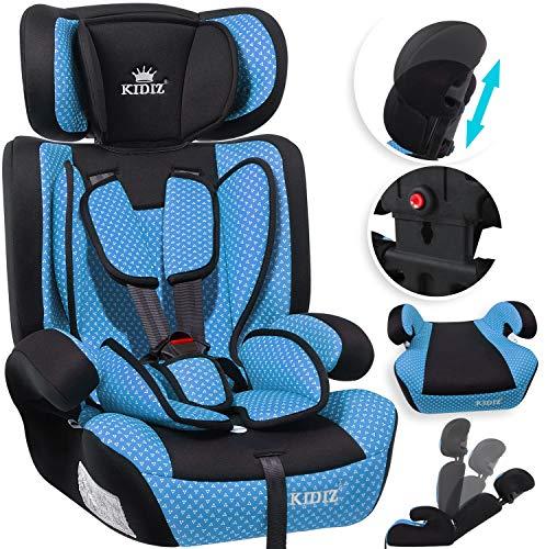 KIDIZ® Autokindersitz Kindersitz Kinderautositz | Autositz Sitzschale | 9 kg - 36 kg 1-12 Jahre | Gruppe 1/2 / 3 | universal | zugelassen nach ECE R44/04 | 6 verschiedenen Farben | Blau