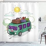 ABAKUHAUS Camper Cortina de Baño, Autobús Lleno de Equipaje, Material Resistente al Agua Durable Estampa Digital, 175 x 200 cm, Multicolor
