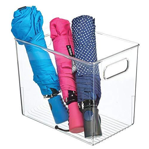 mDesign Organizador de Armario con Asas – Caja de almacenaje de plástico para Guardar Ropa, Zapatos, etc. – También Ideal como Cesta organizadora de artículos de Oficina y Manualidades – Transparente