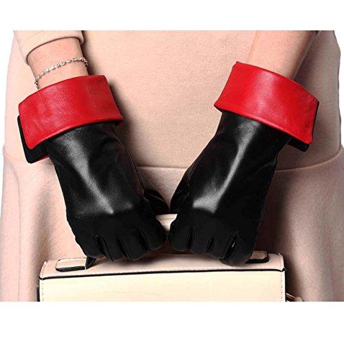 YISEVEN Damen Leder Handschuhe Touchscreen Winter Lederhandschuhe Gefüttert Frauen Warm Elegant Lammfell Schaffell Wolle Futter Damenhanschuhe Winterhandschuhe Fingerhandschuhe,Schwarz Rot Mittle/7.0