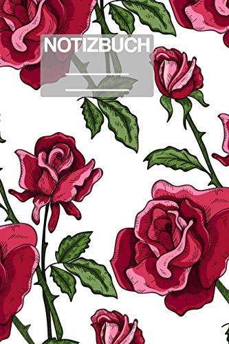 Notizbuch A5 Muster Zeichnung Rosen Rose Rot Dorn Pflanze Flower: • 111 Seiten  • EXTRA Kalender 2020 •  Einzigartig •  Kariert •  Karo •  Raster  • Geschenk • Geschenkidee