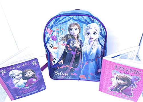 Frozen 2 Backpack For Girls Set - Elsa Backpack Plus Composition Notebooks (Believe in the Journey)