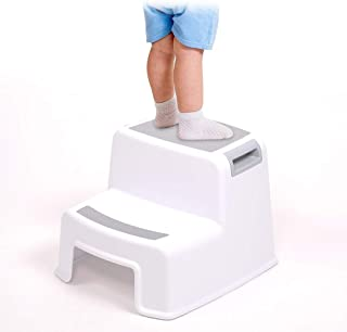 Skyla - Two Ladder Kids Step Stool, Dual Height Non-Slippery Design for Child Potty Training, Best for Use in The Bathroom or Kitchen, Soft and Safe Anti-Skid Gripping, White Plastic Toddler Stool