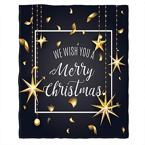 """Bloong Best Wishes - Manta de franela con diseño de estrellas con texto en inglés """"We Wish You A Merry Christmas"""", tamaño king size, 152 x 200 cm, para sofá, cama, mujeres y hombres"""