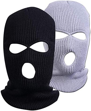 Funny Winter Knitted Cover Mask 3 Hole Outdoor Sports Ski Face Mask Knitted Warm Mask Black product image