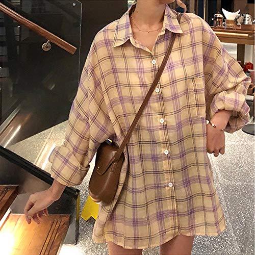 A-HXTM Camisa Verano Mujer Manga murciélago Oversize Harajuku Camisa a Cuadros Cuello...
