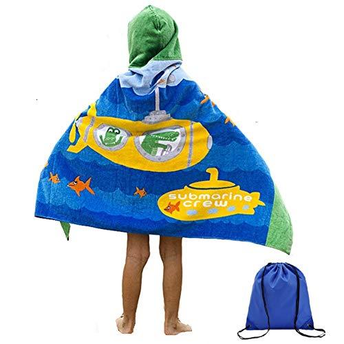 Sticker Superb Kinder mit Kapuze Badetuch Strand Wrap Strandtuch Baumwolle Poncho Schwimmen Handtuch Cartoon Große Quick Dry Bad Handtuch Bademantel Jungen Mädchen 127 * 76 cm (Gelbes U-Boot)