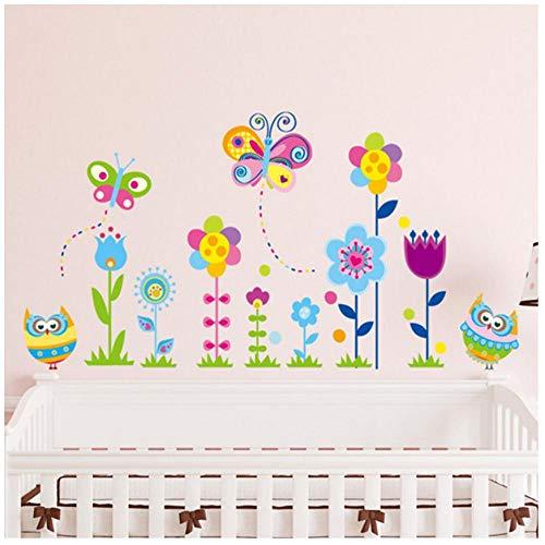 MINGKK - Adhesivos decorativos para pared, diseño de búhos y mariposas, multicolor