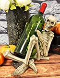 """Ebros Gift Large Day of The Dead Grinning Horny Skeleton Humping Wine Bottle Holder Statue 10.25"""" Long As Halloween Macabre Ossuary Accent Decor Skulls and Skeletons Collection"""