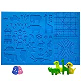 3D Pen Mat, Sunhokey Large 3D Printing Pen Silicone Design Mat 16.4 x 10.9 Inches with Patterns, 3D Pens Drawing Tools with 2 Finger Protectors for 3D Beginners/Kids/Adults