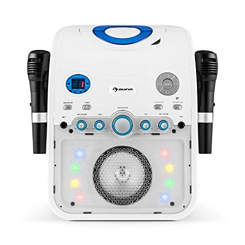 AUNA StarMaker - Chaîne karaoké, Lecteur CD, Bluetooth AUX USB, Effets LED, Sortie vidéo, A.V.C, 2 micros, Blanc