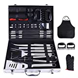 Ohuhu BBQ Grill Accessories Tool Set, 31 PCS Heavy Duty Stainless Steel Barbecue Grill Utensils with Aluminium Case, Grilling Tools with Barbecue Claws Set for Men Birthday Gift
