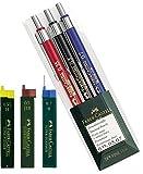 Faber-Castell Druckbleistift [ Profi Set ] TK-FINE 3er Etui (je ein Stift 0,35 mm, 0,5 mm und 0,7 mm) Spar-Set (Druckbleistifte + 3 Dosen Ersatzminen) 0,35 H 0,5 HB 0,7 B