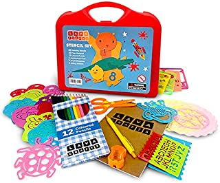 Lava Crafts Drawing Stencils Set for Kids (46 Pieces) | Arts and Crafts for Girls and Boys | Perfect Art Travel Kit for Kids | Animal, Number, Letter Stencils for Painting