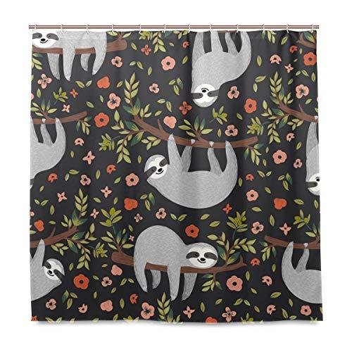 Wamika Rideau de Douche pour bébé Motif Fleurs et Fleurs Cartoon Durable Tissu résistant à la moisissure Étanche Rideau avec 12 Crochets 183 x 183 cm
