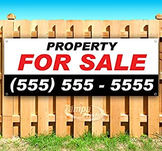 Property for Sale 13 oz Heavy Duty Vinyl Banner Sign with Metal Grommets, New, Store, Advertising, Flag, (Many Sizes Available)