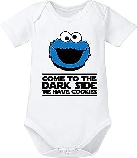 clothinx Come to The Dark Side - We Have Cookies - Lustiges Keks-Monster Motiv Baby-Body Bio