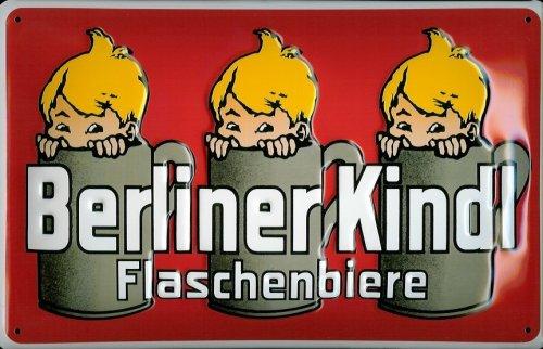 Targa in metallo nostalgico Berliner Kindl bottiglia Biere Rosso Birra Berlin Retro Scudo Brauerei