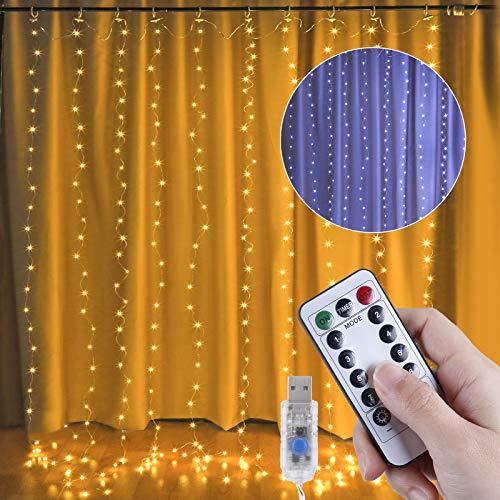 Anpro LED USB Lichtervorhang 3m x 3m,300 LEDs USB Lichterkettenvorhang mit 10 Lichtmodelle für Partydekoration...