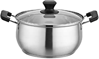 Renquen - Olla para sopa (acero inoxidable, con dos asas y tapa de cristal para el hogar 24 cm Plata 2.