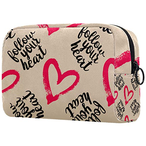 Toiletry Bag Large Portable Waterproof Cosmetic Bag Travel Hanging Make up Wash Bags Makeup Organizer Toiletries Bathroom Storage Follow Your Heart Love Pattern