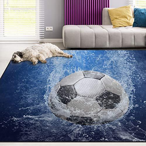 Naanle Tapis de sport 90 x 150 cm, motif ballon de football avec gouttes d
