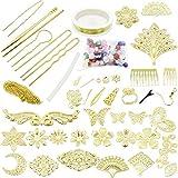 EC Labmouse かんざし 透かしパーツ バラエティーセット ハンドメイド 材料 素材 オリジナル 手作り アクセサリー 合金 (ゴールド)